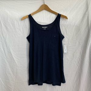 Old Navy Navy Blue Slub Knit Relaxed Fit Tank Top